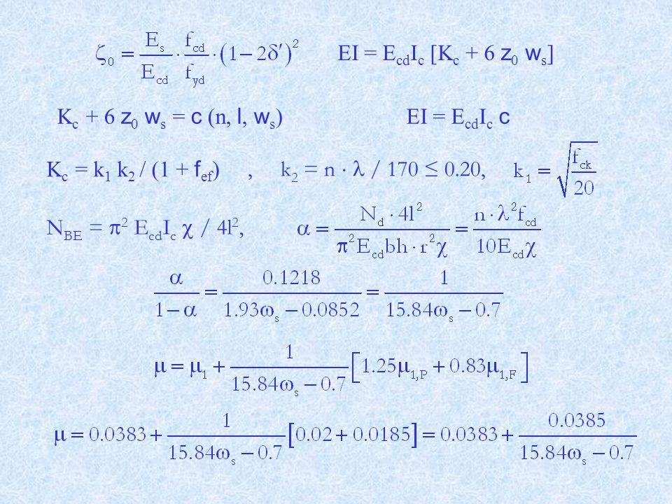 EI = EcdIc [Kc + 6 z0 ws] Kc + 6 z0 ws = c (n, l, ws) EI = EcdIc c. Kc = k1 k2 / (1 + fef) , k2 = n  l / 170 ≤ 0.20,
